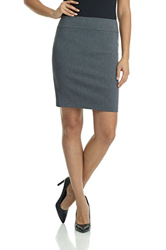Rekucci Women's Ease Into Comfort Above The Knee Stretch Pencil Skirt 19 inch (Large,Charcoal)