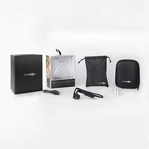 Aftershokz Trekz Titanium - Auriculares de conducción ósea inalámbricos Open-Ear (Orejas Libres) con Estuche de Transporte,Negro