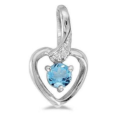 376504cef8bb Collar con colgante de diamantes de topacio azul y corazón. Oro blanco de 14  k