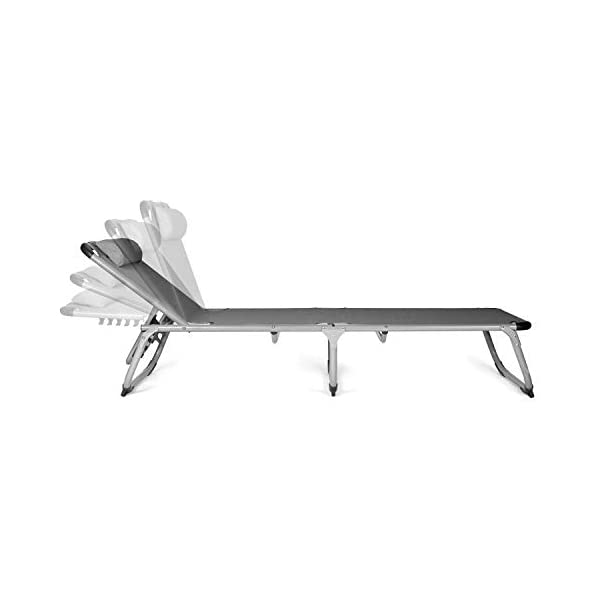 31QMozMyzXL Park Alley PA-5210 Sonnenliege mit Kissen, Gartenliege klappbar mit Rahmen aus Aluminium, hochwertig & robust…