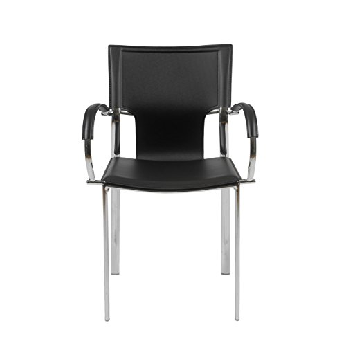 - Euro Style Vinnie Leather Dining Chair with Chromed Base, Set of 2, Armed Side, Black