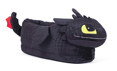 Happy Feet 2108-4 - DreamWorks How to Train Your Dragon - Toothless Slippers - X-Large Mens and Womens Slippers