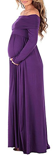 ICEbear Maternity Off The Shoulder Long Sleeve Formal Gown Maxi Photography Dress for Baby Shower by ICEbear