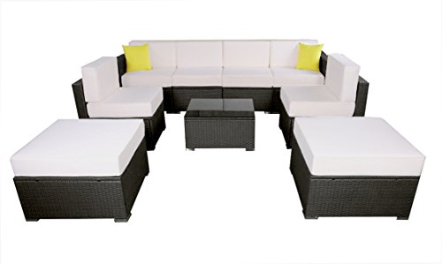 Mcombo Outdoor Wicker Sofa Sectional Furniture Luxury Patio Sofa with 6 Inch Cushions (Creme White) 6082