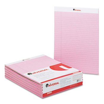 Universal 35883 Colored Perforated Note Pads, 8 1/2 x 11, Pink, 50 Sheet, Dozen by UNV35883 (Image #1)