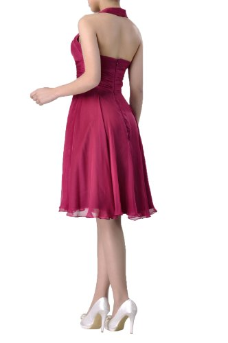 Knee Special A line Chiffon Length Natrual Halter Graugrün Dress Bridesmaid Occasion WUwqInCp