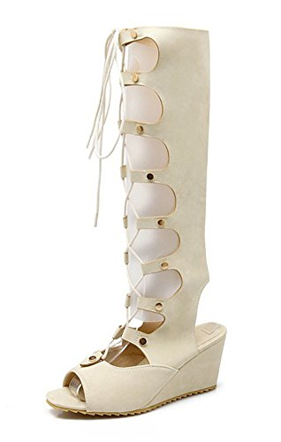 Aisun Women's Cool Cosplay Peep Toe Gilly Tie Gladiator Knee High Sandals Wedge Shoes White 7KVIy4V1Hd