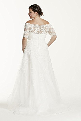 Lace jewel 3 4 sleeve trumpet plus size wedding dress for Plus size trumpet wedding dress with sleeves