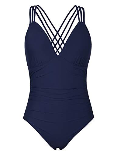 Mycoco Women's Swimsuits One Piece V Neck Tummy Control Swimwear Multi Strap Cross Back Bathing Suit Monokini Navy US 8