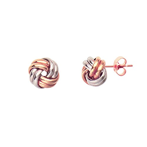 14k Two Tone White and Rose Gold Two Row Love Knot Earrings 8mm (2 Rose Row Gold)