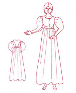 [1825 - 1830 Day Dress Pattern (Sizes 2-30)] (Period Costumes 1830)