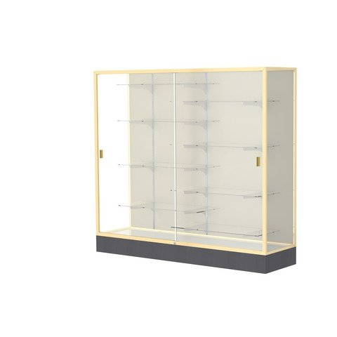 Aluminum Waddell Frame (Waddell Manufacturing Company Waddell 2606-PB-GD Colossus 72 x 66 x 20 in. Aluminum Frame Floor Display Case with Black Laminate Base44; Plaque Back - Champagne Gold)