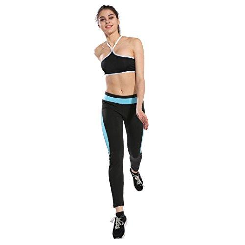 Mujeres Yoga Pantalones deportivos Athletic Gym Fitness Leggings Pantalones casuales by HARRYSTORE Cielo azul