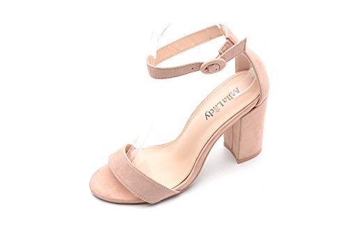 Ankle Strap Adjustable Buckle Block Chunky Heeled Sandals Shoes with Soft Padded Insole for Women, LULA Pink Size 6.5 ()
