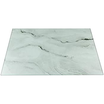 White Marble Glass Cutting Board by Clever Chef - Non-Slip, Shatter-Resistant, Durable, Stain-Resistant, and Dishwasher Safe - 12 x 15.75 Inches