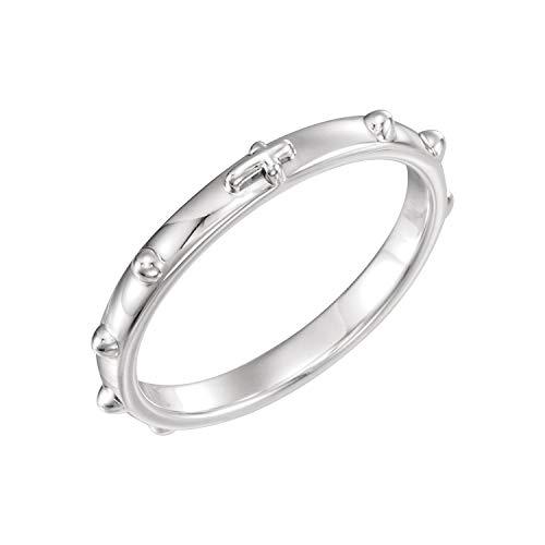 - 14K White Gold Rosary Ring Size 8