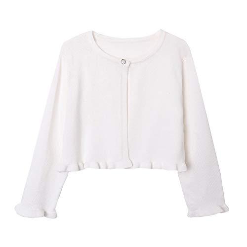 ZHUANNIAN Girls Knit Cardigan Shrug Ruffle Cropped Sweater Dressy Bolero Jacket(Ivory, 6-7)