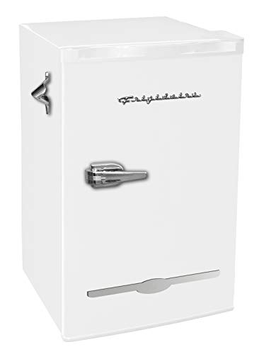 Frigidaire EFR376-WHITE 3.2 Cu Ft White Retro Bar Fridge with Side Bottle Opener