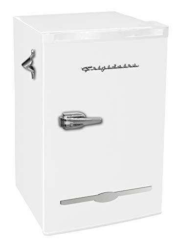 Frigidaire EFR376-WHITE 3.2 Cu Ft White Retro Bar Fridge with Side Bottle Opener ()