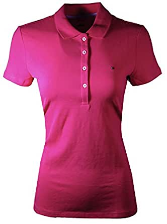 TOMMY HILFIGER Women's Classic Fit Mesh Polo Shirt (Bright Pink, Small)