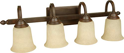 Craftmade 15228AG4 Madison Antique Vanity Wall Lighting, 4-Light, 400 Watts, Aged Bronze Textured (28