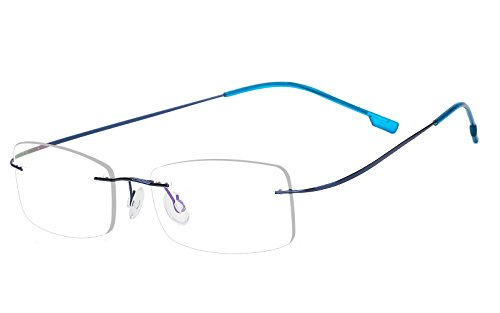 Agstum Mens Womens Titanium Alloy Flexible Rimless Frame Prescription Eyeglasses 51mm (Blue
