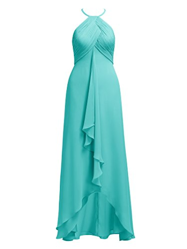 Alicepub Hi-Lo Chiffon Bridesmaid Dresses Halter Formal Bridal Party Dress Plus Size, Aqua Blue, US20