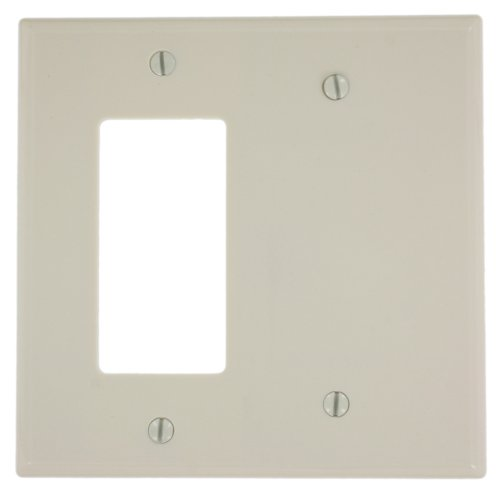 Leviton 80608-T 2-Gang 1-Blank 1-Decora/GFCI Device Combination Wallplate, Midway Size, Thermoset, Light (Two Gang Blank Cover)