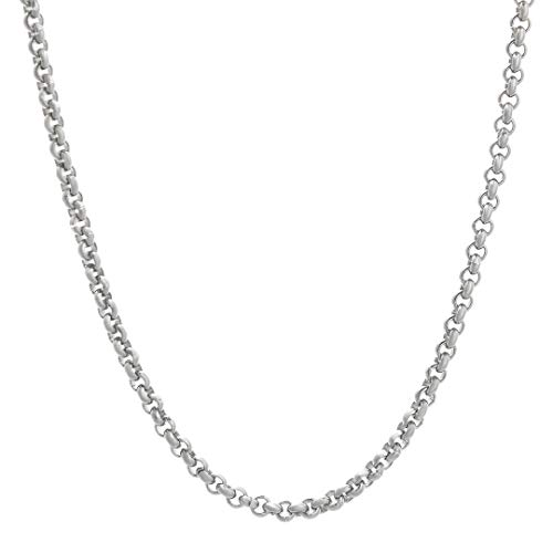 4mm Sterling Silver Cable Link - TRIPOD JEWELRY 3MM-4MM Mens Womens 925 Sterling Silver Chain Rolo Cable Chain Necklace 18-22Inch,Made in Italy,Multiple Sizes (3mm White Gold, 22)