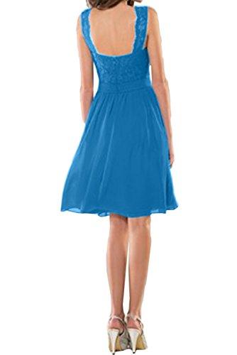Neck Blau Abiballkleider Kurz Cocktail Ivydressing Bildfarbe V Neu Spitze Band Abendkleider Damen ZBq61O