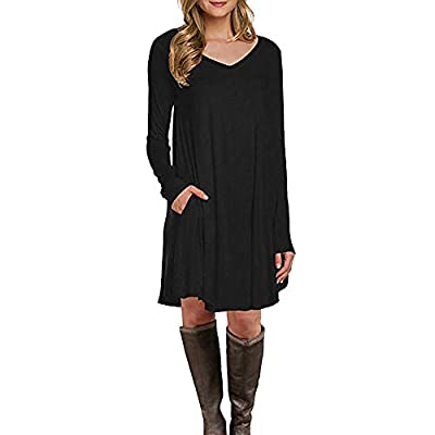 Muranba Womens Long Sleeve Pocket Dress Loose T Shirt Elegant V Neck Sleeves Knitted Bodycon Cocktail Batwing Backless