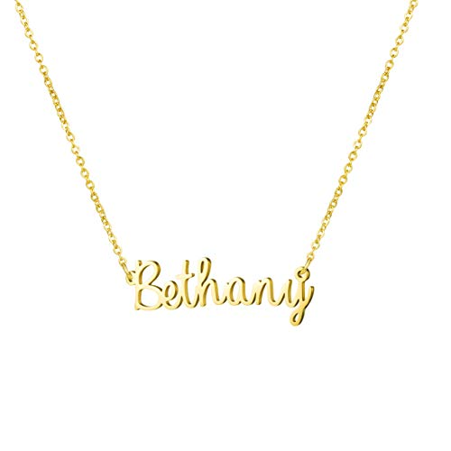 Awegift Personalized Name Necklace 18K Gold Plated New Mom Bridesmaid Gift Jewelry for Bethany