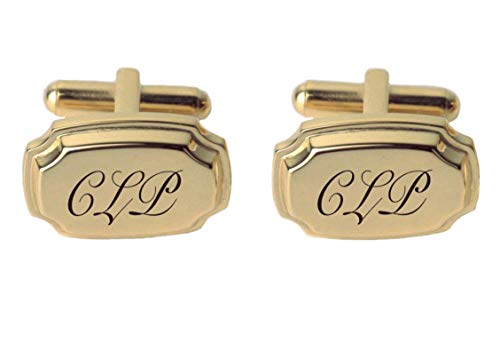 Personalized Gold Ornamental Cufflinks Engraved Free