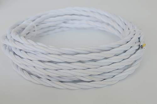 25 feet white Twisted Cloth Covered Wire,3-Conductor 18-Gauge Antique Industrial Fabric Electrical Cord Cable,Vintage Style Lamp Cord strands (Wire Antique Rayon)