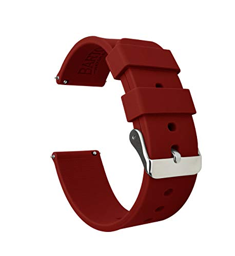Barton Silicone Watch Bands - Quick Release Straps - Choose Color & Width - 16mm, 18mm, 20mm, 22mm - Crimson Red 18mm