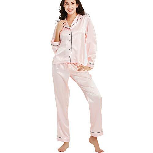 d22bd531d NEW DANCE Women's Satin Pajamas Sleepwear Long and Short Button-Down  Pajamas Set Loungewear