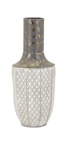 - Benzara BM186800 Metal Vase with Lattice Diamond Pattern, Bronze and Gray