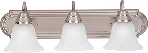 - Maxim 85813MRSN Essentials EE 3-Light Bath Vanity, Satin Nickel Finish, Marble Glass, GU24 Fluorescent Fluorescent Bulb , 18W Max., Wet Safety Rating, 2700K Color Temp, Glass Shade Material, 1355 Rated Lumens