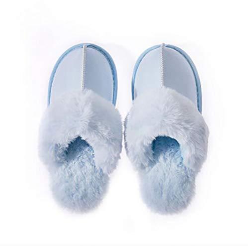 Chaud Blue Black Mouillé Chaussons Hiver Intérieure PU Flip Flops Coton Supérieur Chaussures Pas Amateurs Femmes Maison De 35 SHANGXIAN 36 qHnAa5H
