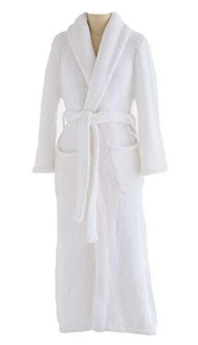 Plush Tresaro Chenille Bathrobe - Super-soft, Warm & Cozy Microfiber Robe Perfect for Women and Men - WHITE - Small/Medium