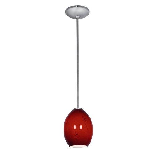 Brandy FireBird Glass Pendant - 1-Light Pendant - Rods - Fluorescent - Brushed Steel Finish - Red Sky Glass Shade