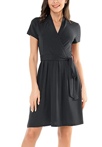 Le Vonfort Women's Crossover V Neck Casual Swing A Line Short Sleeve Belted Faux Wrap Dress Black X-Large (Belted Little Black Dress)