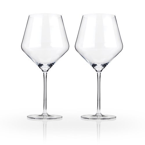 Raye Crystal Burgundy Wine Glass Set by Viski - (Set of 2, 21 oz.) - Tapered Shot Glass