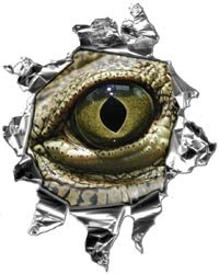 Mini Ripped Torn Metal Decal with Evil Gator Eyeball - 4
