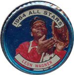 1964 Topps Metal Coins (Baseball) Card# 130 Leon Wagner of the Cleveland Indians ExMt Condition