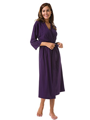 SIORO Women's Kimono Robes Cotton Lightweight Robe Long Knit Bathrobe Soft Nightgowns Sleepwear V-neck Ladies Nightwear, Eggplant,XL(US 12-16)