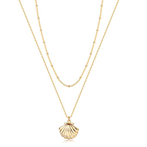 Befettly Shell Charm Pendant Layered Necklace 14K Gold Fill Dainty Hammered Cute Phase Beads Chain Layering Choker Necklace CK10-Layered Shell ()