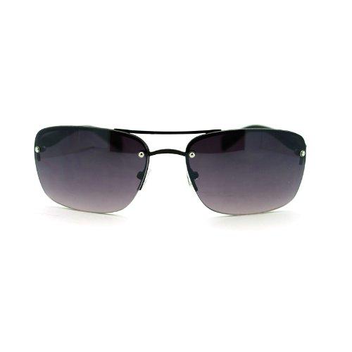 Mens Rimless Rectangular Navigator Sport Euro Fashion Sunglasses - Euro Sunglasses