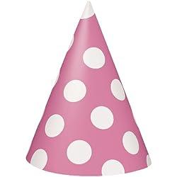 Hot Pink Polka Dot Party Hats, 8ct