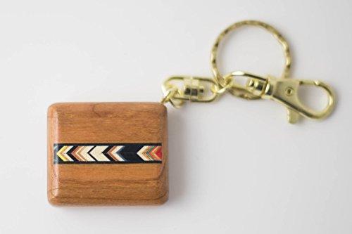 Heartwood Compass Keychain Teak- Colored Arrows - 1 1/2 x 1 1/4 x 1/2